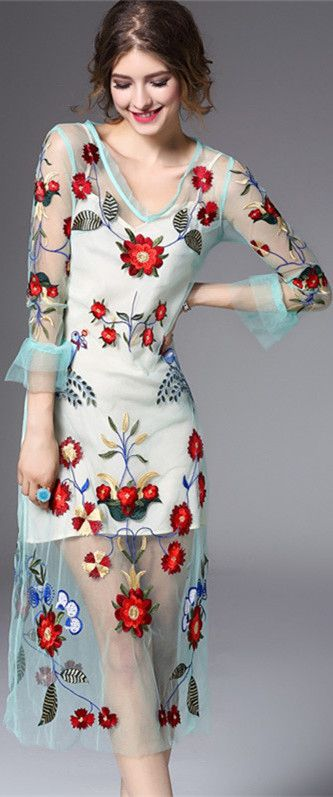 Light Blue Floral Embroidered Illusion Dress