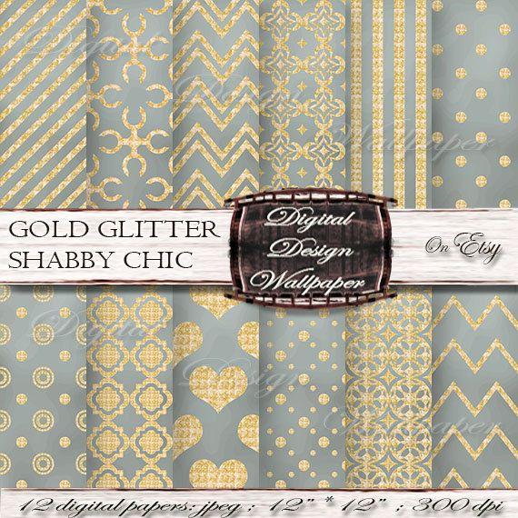 Gold and Grey Shabby Chic Glitter Digital Paper for digital scrapbook lovers,Glitter Dots,Glitter Chevron,Gold Glitter Hearts, Quatrefoil Paper,Sparkle Paper by DigitalDesignPaper. Explore more products on: www.etsy.com/...