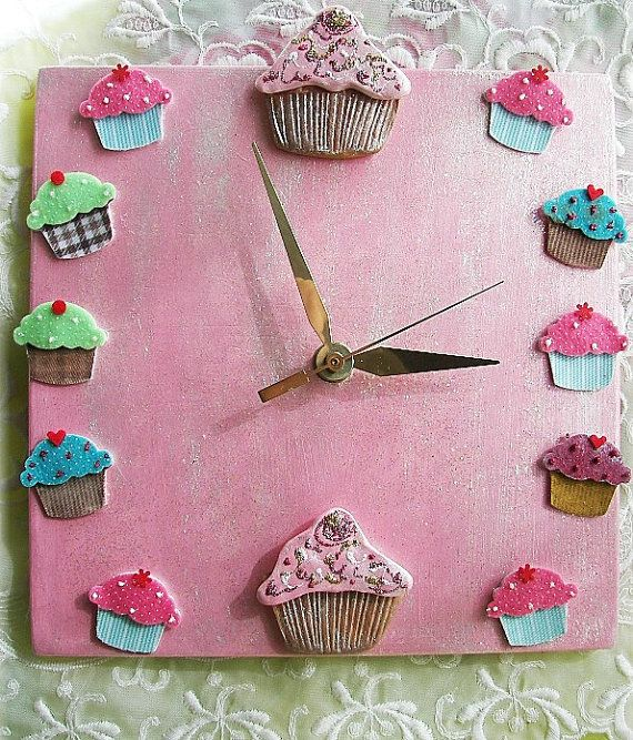 Cupcake Ceramic Clock in Pinks and Blues by Angelheartdesigns, $38.00