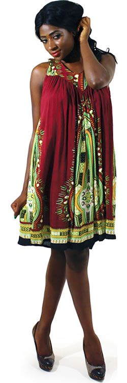 Traditional Short African Dress in Plum #Fashion #Dresses #Sundress