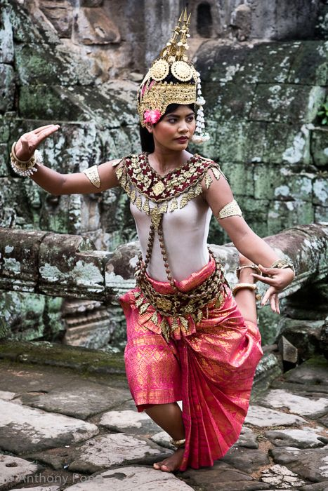 Robam Tep Apsara is the title of a Khmer classical dance created by the Royal Ballet of Cambodia in the mid-20th century under the patronage of Queen Sisowath Kossamak. Here is an Apsara Dancer preforming the act.