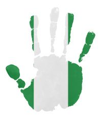 Handprints with Nigeria flag illustration