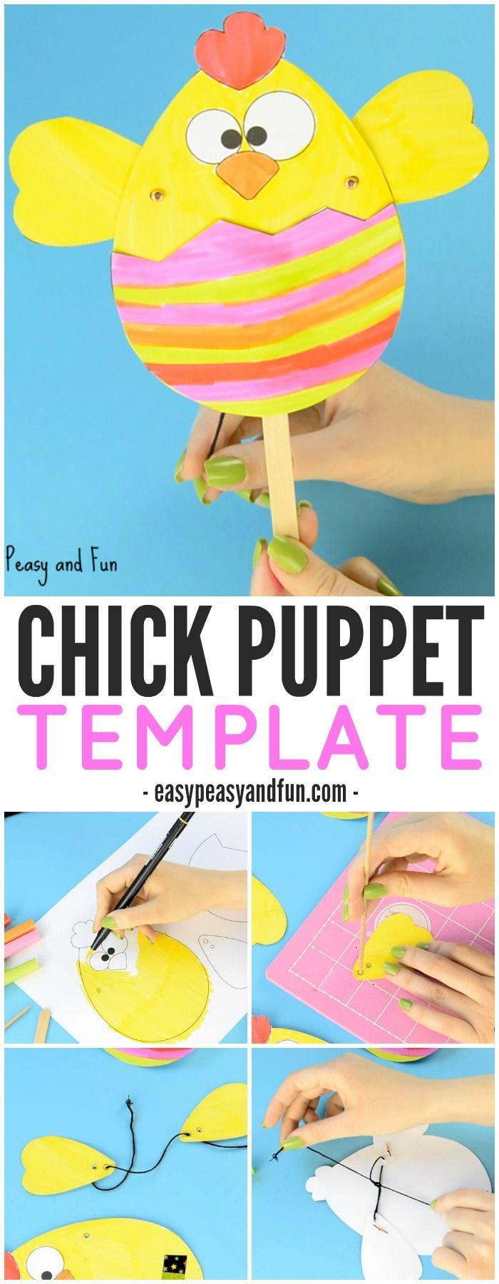 Baby shower photo booth ideas. Paper Chick Puppet Craft Template – Fun Easter Idea