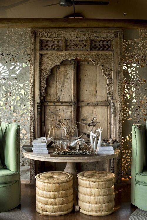 Exceptional Indian Furniture Los Angeles #4: Indian Old Door Used As A Stunning Dramatic Backdrop For A Sitting Area ! Many Choices