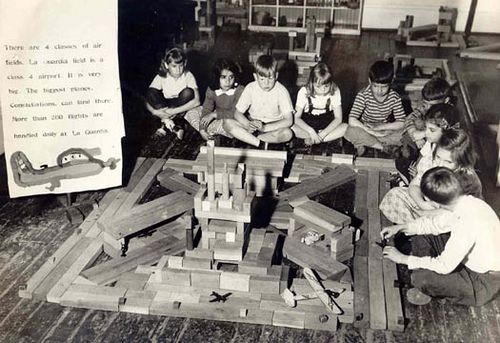 Poughkeepsie Day School archives    Building La Guardia field with blocks after a field trip. 1950's .  Students at Poughkeepsie Day School still take field trips and they still work and play with blocks.