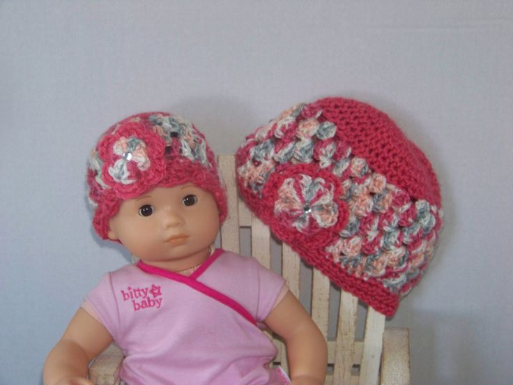 Girl and Doll Matching Hats, Crochet Dollie & Me Hat Set, Beanie Hat for Girl and Doll with Double Flower/ Color of Tea Party and Soft Rojo by SewBlessedTreasures on Etsy