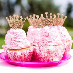 Glitter Princess Crown Cupcake Toppers