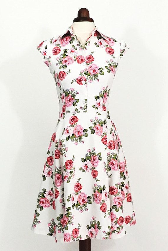 Floral dress for women pink rose dress summer dress for Vintage wedding guest dresses