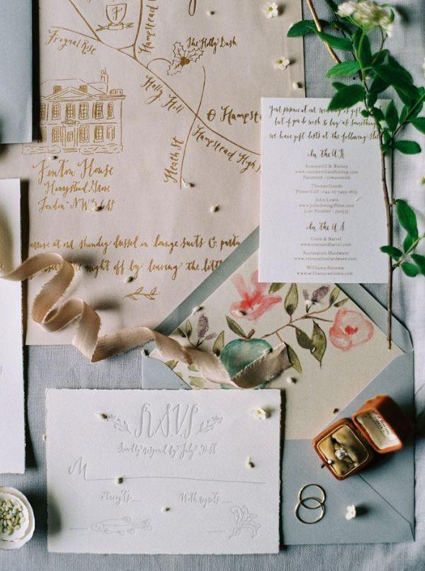 Powder Blue and Floral Print Invitation