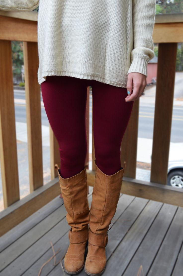 Wine Fleece lined Leggings
