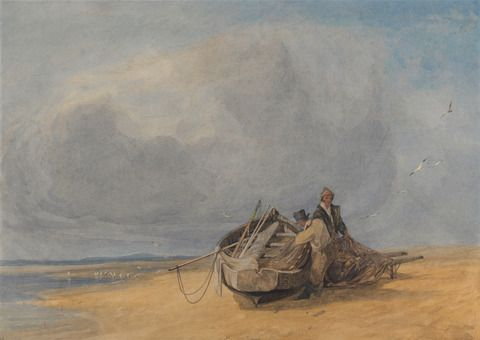 John Sell Cotman, 1782-1842, British, Yarmouth Sands, Norfolk, 1820 to 1830, Watercolor, gouache, graphite, and scraping out on medium smoot...