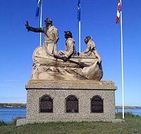 David Thompson and two guides on the shore of Lac la Biche, which he explored and mapped in the1780's                               LacLaBiche - Alberta.