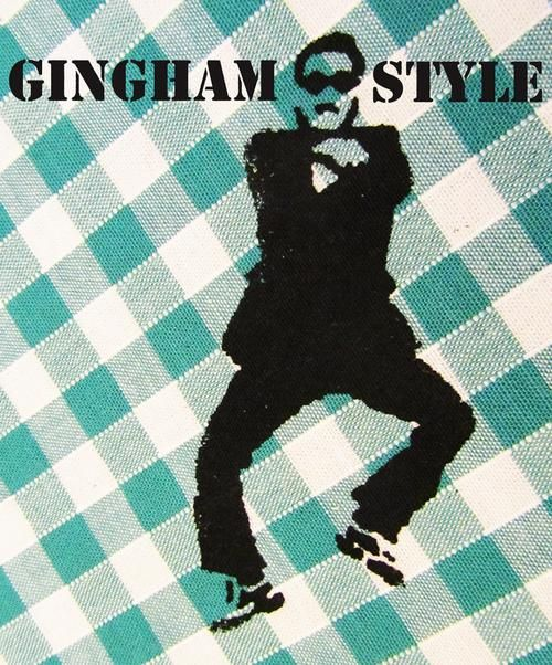 Close up of Gingham Style repeat print in production. Inspired by Psy - Gangnam Style.