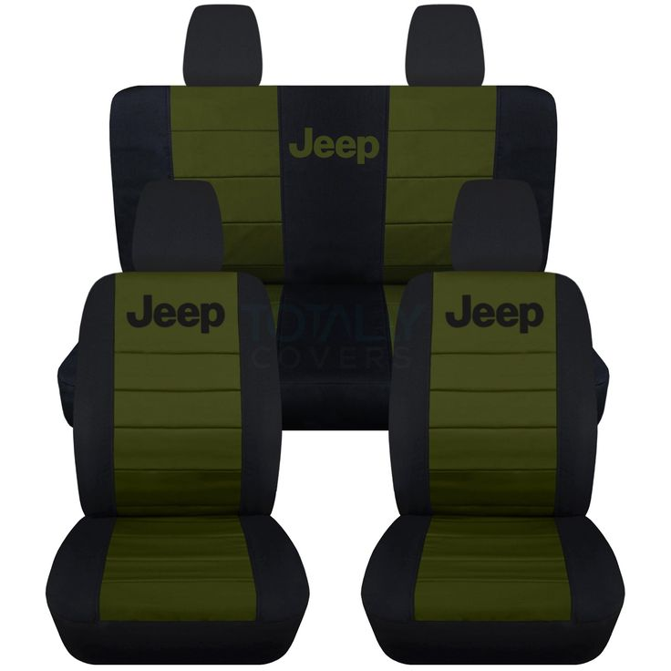 Jeep Wrangler JK (2011 to 2016) 2-Tone Seat Covers with Jeep: Black and Hunter Green - Full Set (22 Colors Available)