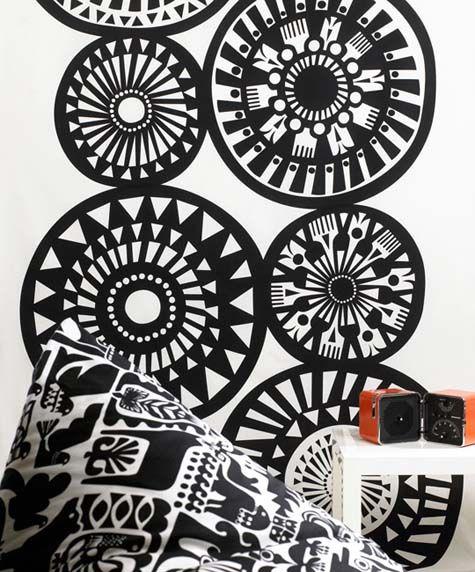 Cool wall decal and cushion - Marimekko designed by Sanna Annukka 2009 Spring collection