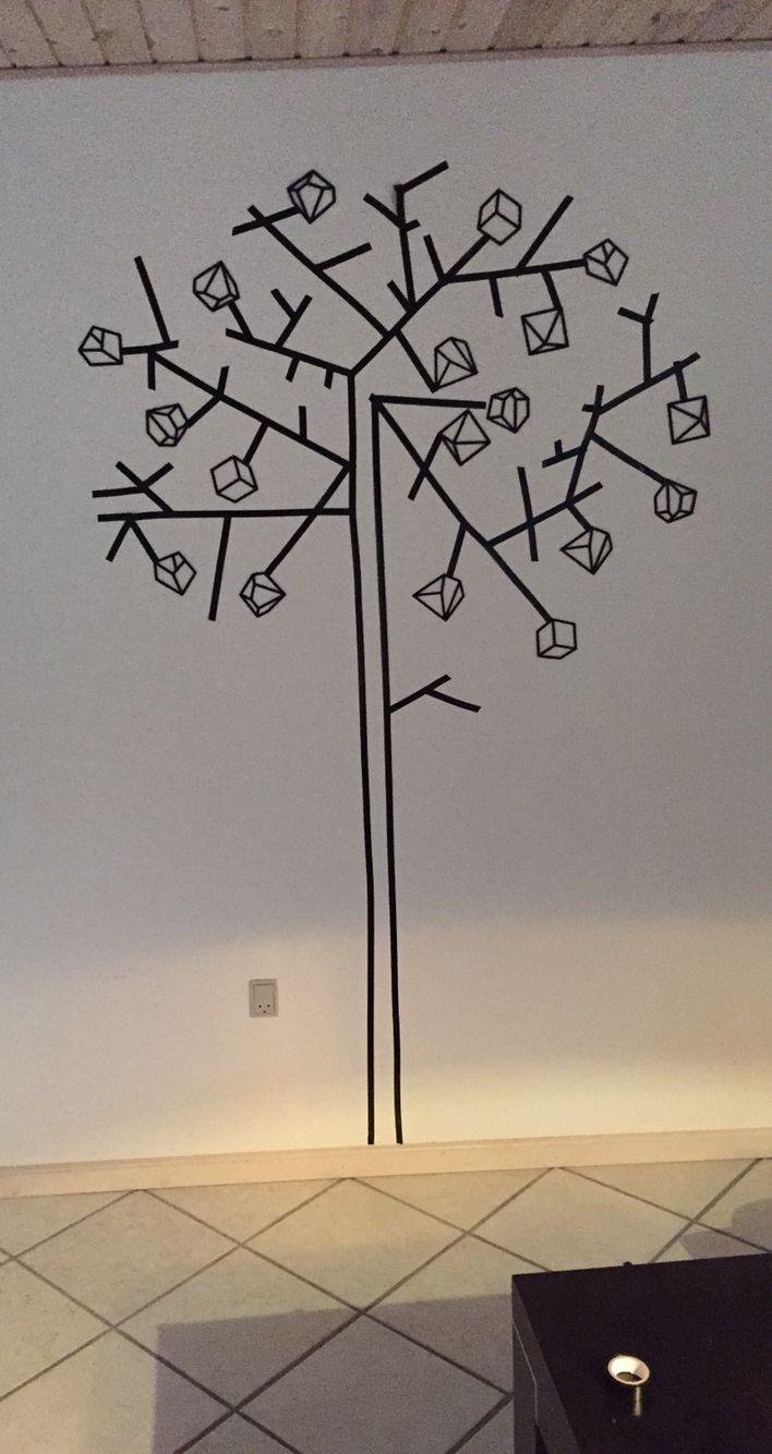 Isoleringstape formet som et træ. Washi tape tree geometric