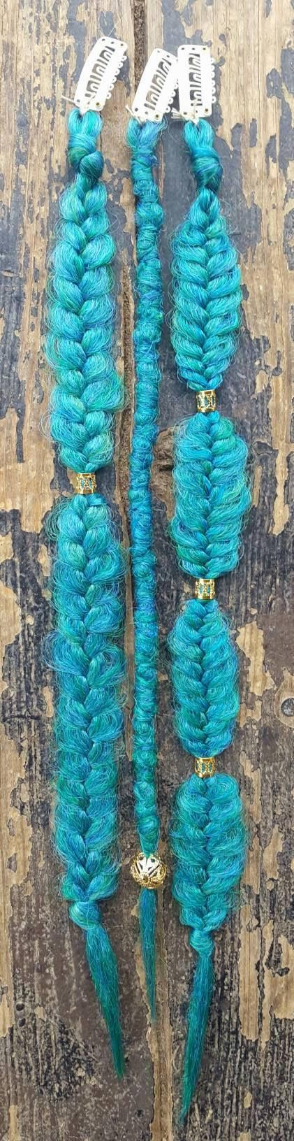 Tinkerbell inspired fairylocs Set of 3 Dreadlocks - 1 Braids - 2 Length - 14-18 Colors - emerald, sideshow, mint Embellishments - gold cuffs, rose Clip in - optional at checkout All dreads are made to order with the same materials and will be beautiful and unique in their own way