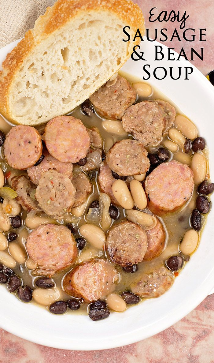 Your family will love this quick and easy Sausage and Bean Soup.  It is such a hearty and filling soup, perfect for cold winter nights.