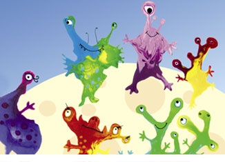 blow monsters--two colours of paint on thick paper blown with a straw then touched up with end of straw
