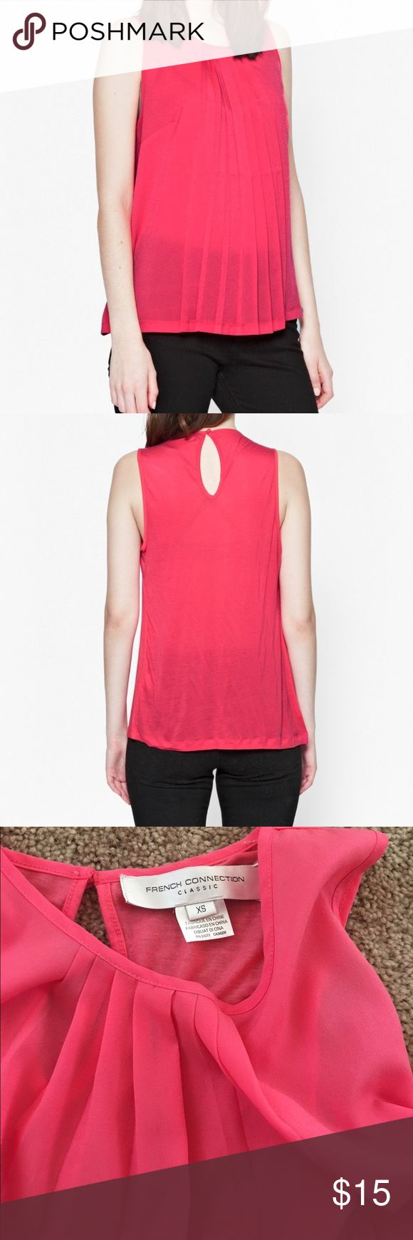 French connection pleeted sheer tank Sz XS coral Never worn Sz XS sheer light weight super cute tucked in with jeans or left out coral pink color sweet tank French connection French Connection Tops Tank Tops
