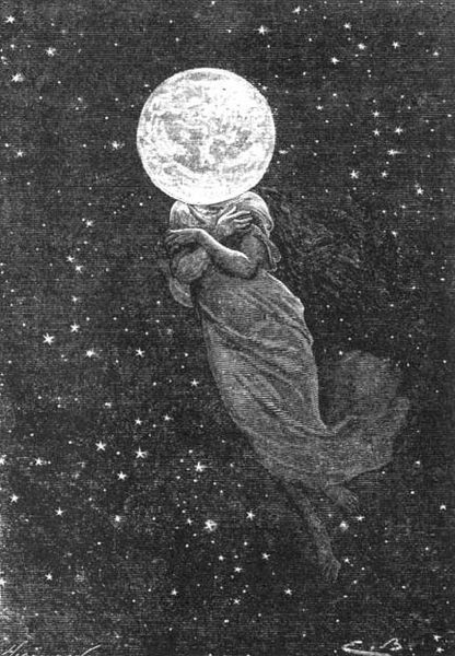 """an illustration from Jules Verne's novel """"Around the Moon"""" (1872),  Émile-Antoine Bayard and Alphonse de Neuville: Mothers Earth, Illustration, Jules Verne, Travel Tips, Moon Art, Moon Goddesses, Full Moon, Outer Spaces, The Moon"""
