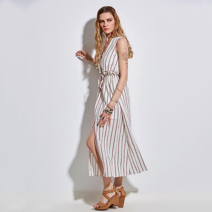 Lace Up Stripe V Neck Sleeveless Boho Beach Split Long Dress - FashionandLove.com