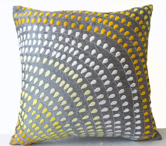 Silk Pillow covers Grey silk with yellow white от AmoreBeaute