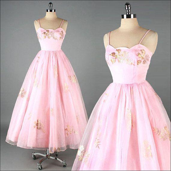 Vintage 1950s Dress . Pink Organza . Gold by millstreetvintage, $235.00