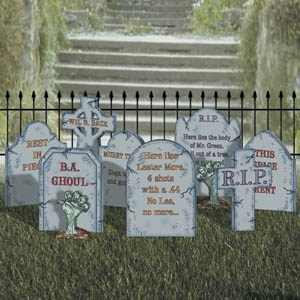 Create A Graveyard Pattern.  Your happy home quickly turns into a haunted house when you create your own graveyard! Patterns include gothic fence, 8 tombstone designs, dozens of sayings and 2 sizes of alphabets. Largest piece is 35H x 21W. 9 designs!  Item# 1070  $10.95 ( crafting, crafts, woodcraft, pattern, woodworking, yard art, halloween ) Pattern by Sherwood Creations halloween-patterns
