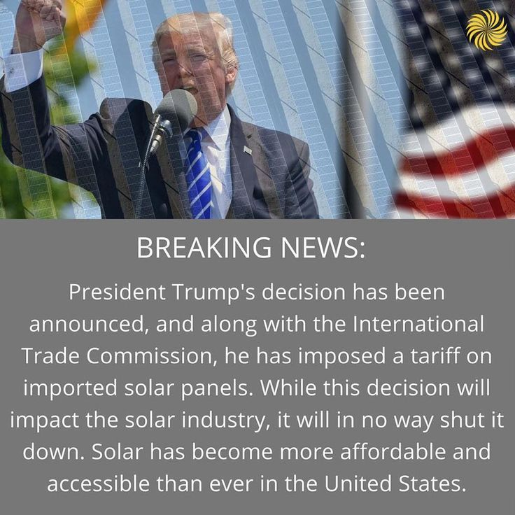#Repost @iowawindandsolar  BREAKING NEWS: President Trump has imposed a tariff on imported solar cells. The tariff is set at 30% for all imported solar modules and cells. The tariff is set to drop by 5% per year over the course of four years. The final year will see the tariff set at 15%. While this decision will impact the solar industry it will in no way shut it down. Solar has become more affordable and accessible in the US than ever before and thats a trend that will continue as we bring…