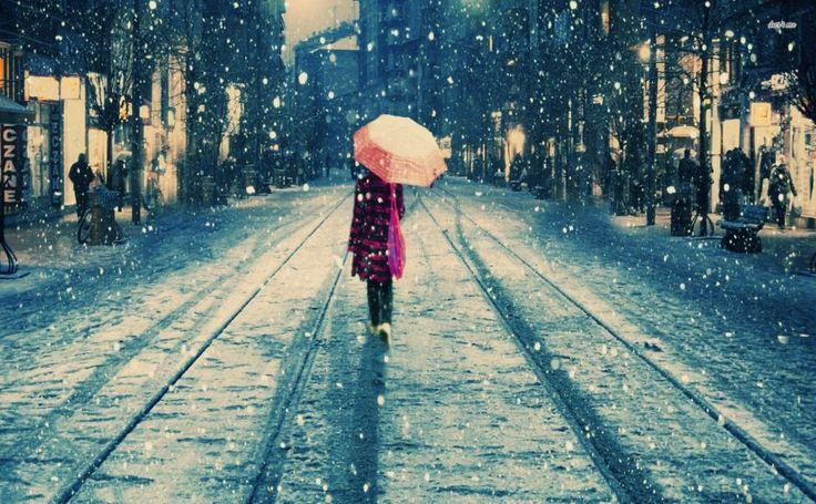 Walking on the snowy street HD Wallpaper