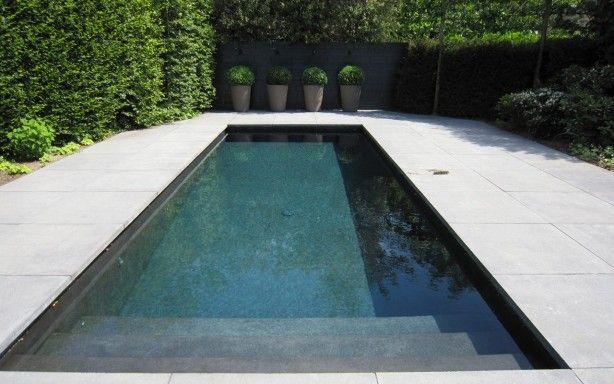 Moderne zwemvijver. In tegenstelling tot de standaard blauwe zwembaden nu eens een chique zwarte zwemvijver.