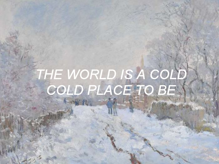 text over art:Monet's Snow at Argenteuil vs. Vampire Weekend's Unbelievers