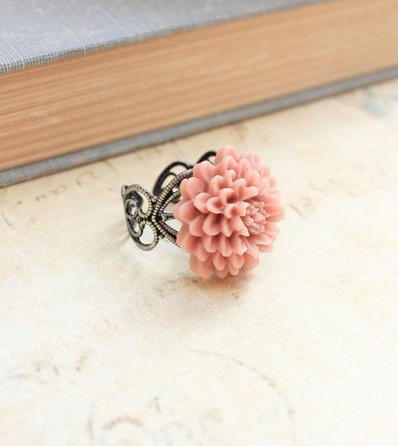 Pink Flower Ring Adjustable Filigree Cocktail by apocketofposies