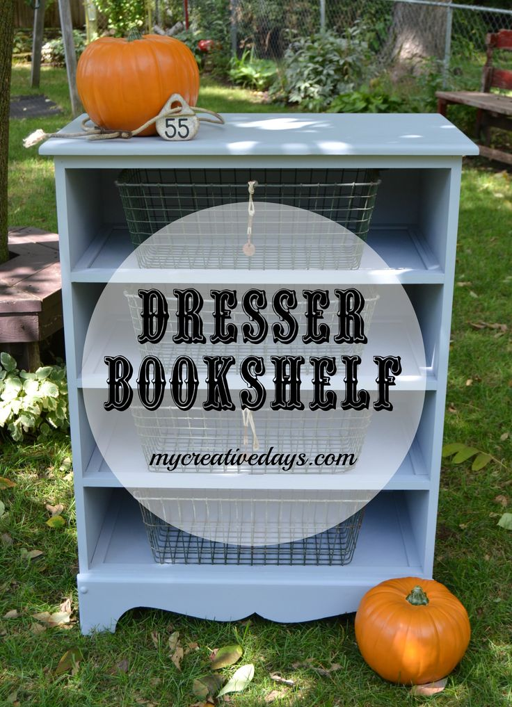 Are you looking for a bookshelf but don't want to spend a ton of money on one? Do you have an old dresser in your home that is not being used? Turn it into the bookshelf you need! Dresser Turned Bookshelf from mycreativedays.com.