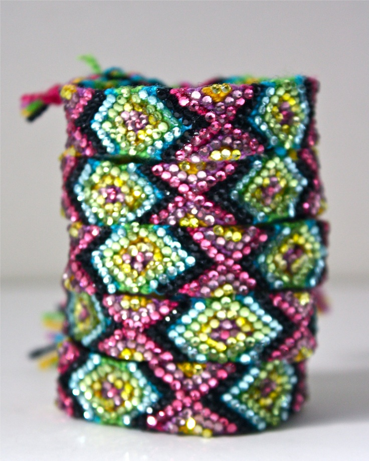 The Original Swarovski Crystal Friendship Bracelet-  Calla Lily Design (Pink, Black, Blue, Yellow & Green). $50.00, via Etsy.