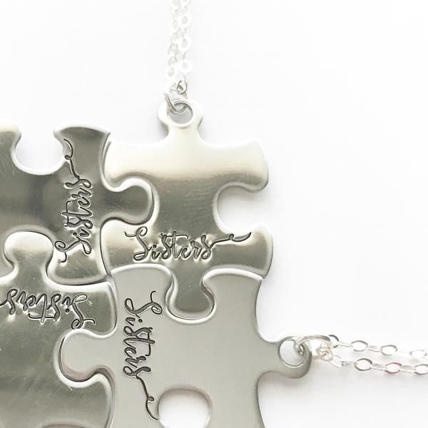 Besties or Sisters puzzle piece necklace