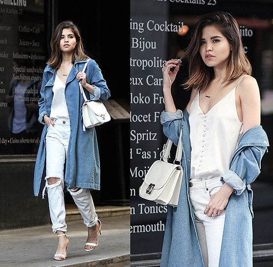 Get this look: http://lb.nu/look/8195441  More looks by Adriana Gastélum: http://lb.nu/bagt  Items in this look:  Storets Denim Trench Coat, Cami Nyc Silk Camisole, One Teaspoon Ripped White Jeans, Steve Madden Ankle Sandals, Ferragamo Jody Bag