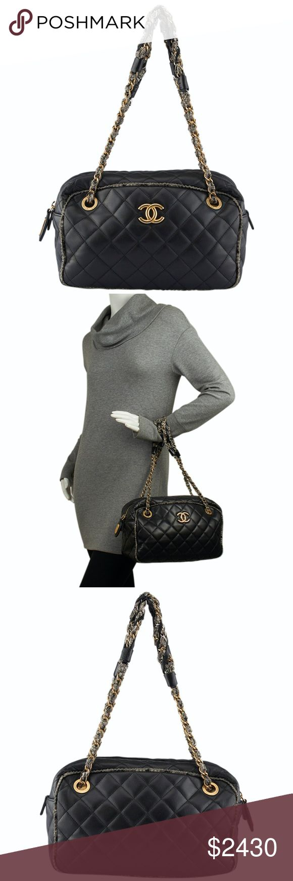 Chanel Tweed Quilted Shoulder Bag (126821) This Chanel shoulder bag features: •Creasing to the bottom corners and staining and wear to the interior. •Overall Condition: Pre-owned •Type: Shoulder Bag •Material: Tweed/Lambskin Leather •Origin: Italy •Color: Black •Interior Lining: Fabric •Interior Color: Beige •Hardware: Gold-Tone •Meas (L x W x H): 11x5x8 •Handle Drop: 8 •Interior Pockets: 3 •Weight: 2 lbs •Production Code: 14469024 CHANEL Bags Shoulder Bags