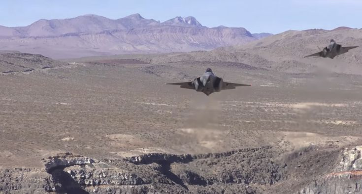 Dutch Airforce F35 Planes Fly Over Death Valley