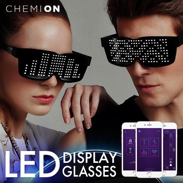 Chemion / ケミオン LED ディスプレイグラス 【 LED Bluetooth Glasses Chemion2 サングラス 眼鏡 メガネ めがね パリピ スマートグラス Smart 光るサングラス 光るメガネ 眼鏡 動く アニメーション  LEDサングラス クリスマスプレゼント 彼氏 】《レビュークーポン》