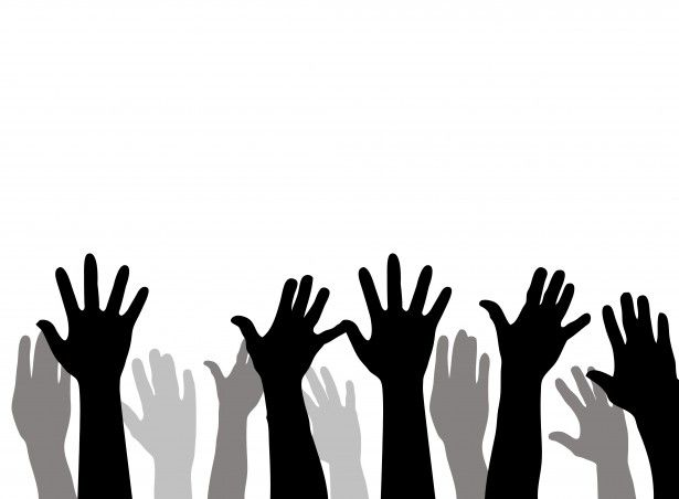 children raising hands silhouette - Google Search