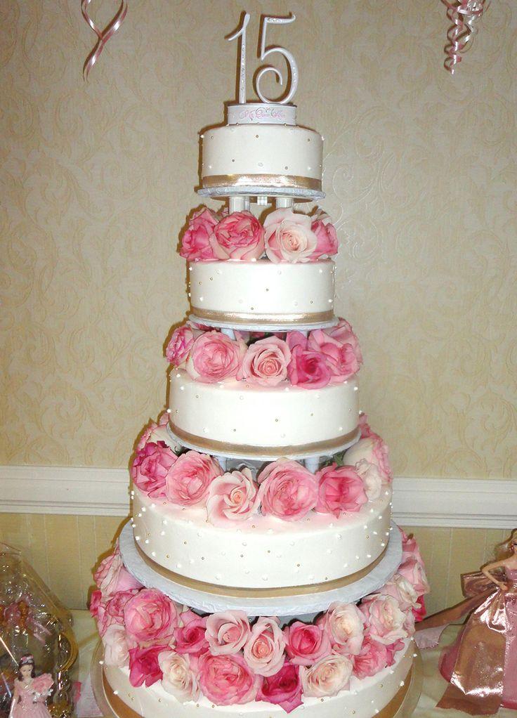 Quinceanera Cake Pink Roses Cakepins Com Quinceanera