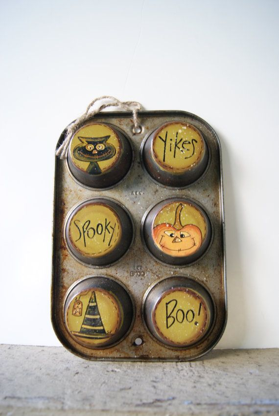 halloween decor black cat witches hat jack o lantern rustic halloween decor hand painted muffin tin - Rustic Halloween Decorations