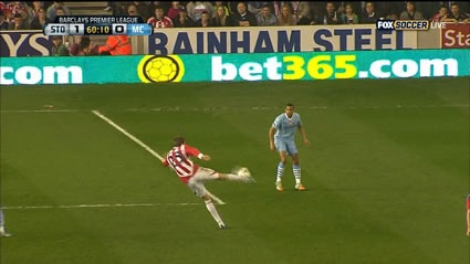 Peter Crouch with Stoke City vs. Man City 2012 on 20 some odd yard volley into the back of the net!  Amazing Goal!