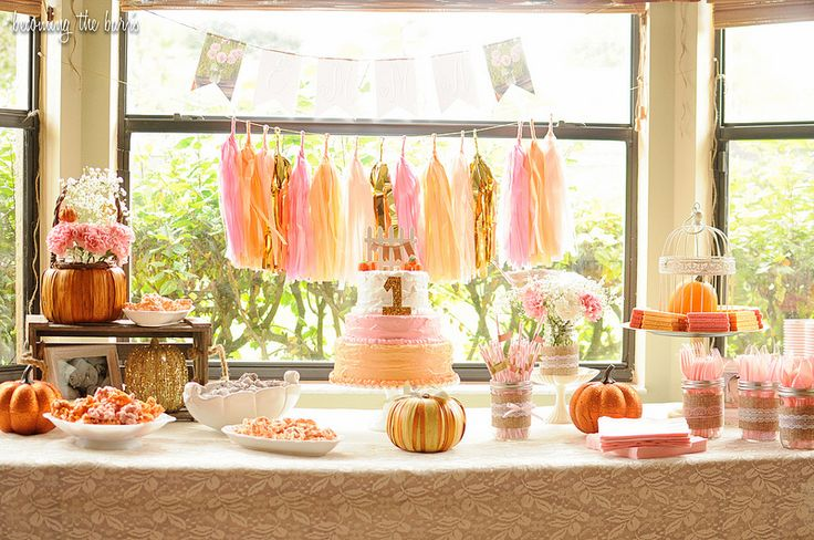 Vintage Shabby Chic Pumpkin, Pink, Gold First Birthday party {Glitter, Lace, & Burlap Rustic Party}
