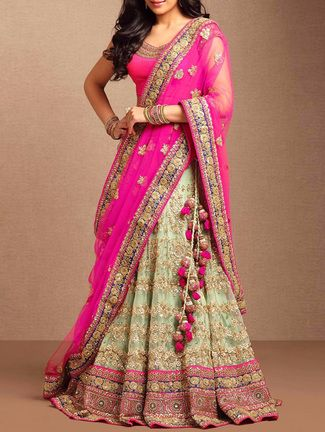Green & Pink Net Saree lehenga on LIMEROAD.COM