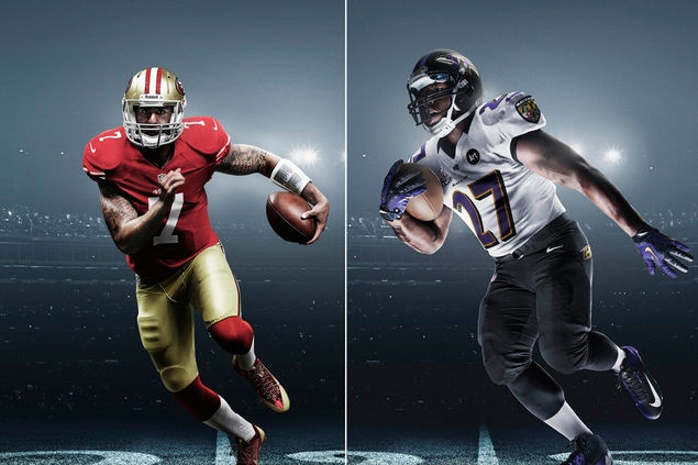 Super Bowl 2013: San Francisco 49ers Quarterback Collin Kaepernick vs Baltimore Ravens Ray Rice.
