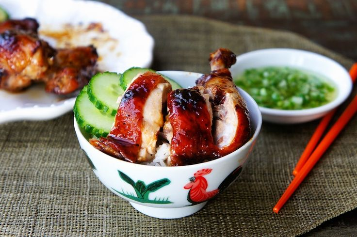 Chinese Roasted Soy Sauce Chicken With Ginger and Scallion Sauce