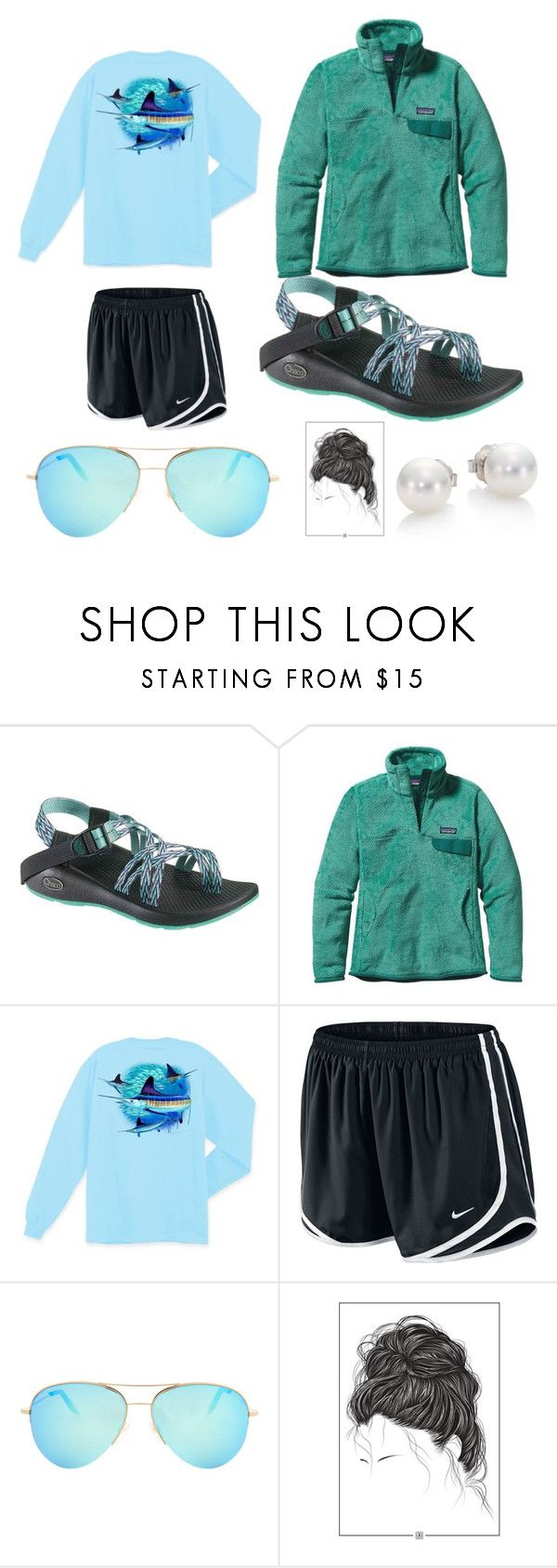 """""""46. Out for the day"""" by segovia0126 ❤ liked on Polyvore featuring Chaco, Patagonia, Guy Harvey, NIKE, Victoria Beckham, Mikimoto, women's clothing, women, female and woman"""